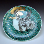 Plate with deer, flower, and clouds (2015) </br> Porcelain