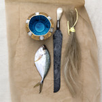 Cup with Fish, Knife, Horsehair  (2013 ) </br>Photography  (Photo: EG Schempf)