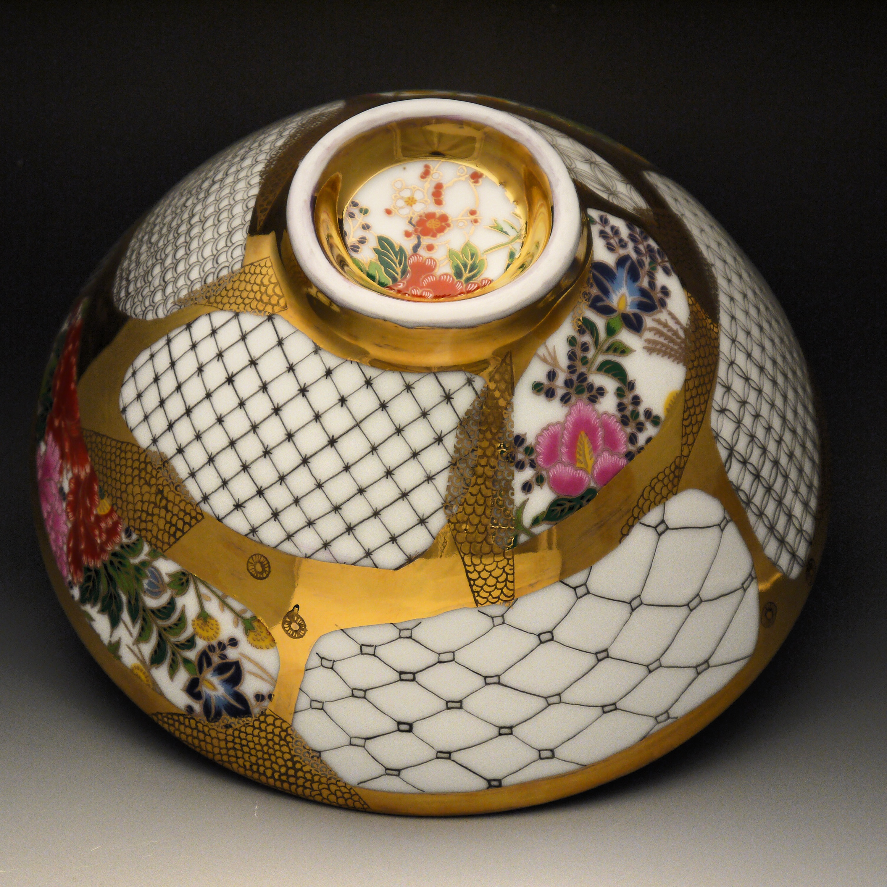 """Title: """"Japanese Noodle Bowl II"""" Size: h4 inches x w9 inches Materials: Chinese Porcelain, Japanese Vintage Flower Decal, German Gold Luster, China Paint (Contact Reese Gallery for pricing: 314.954.7638)"""