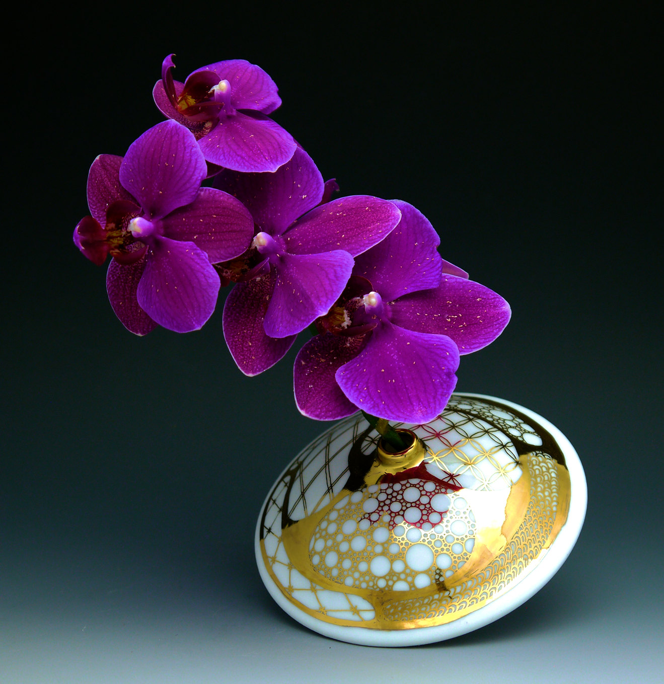 Small Bud Vase, handpainted porcelain, traditional pattern, gold luster | $95.00