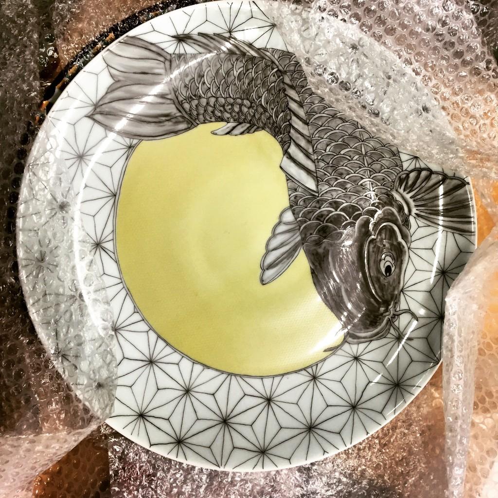 Porcelain platter with Japanese decal (irezumi motif)