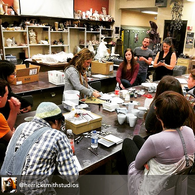 Gold luster / decal application in ceramics workshop by Melanie Sherman at Fort Hays State University