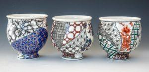 Melanie Sherman Cerbera Gallery Tea Bowls White Glossy Smooth Luscious Cone 6 Glaze