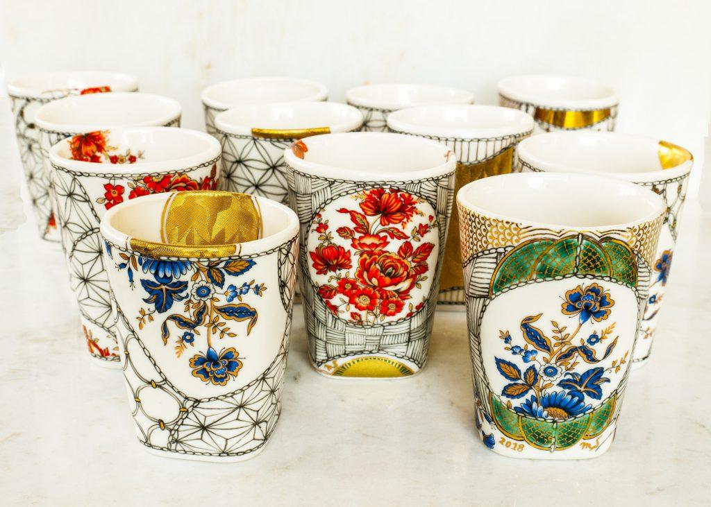 Sake Cups | Porcelain, handmade, and handpainted | Vintage English Blue, Red & Gold Flowers | 24k German Gold Luster